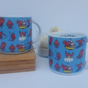 Lobster coffee mugs Set of 2 Fine porcelain NEW!
